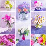 Vase bouquet summer flowers collage. Vintage stock photos