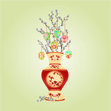 Vase with branch pussy willow and easter eggs vector Stock Photos