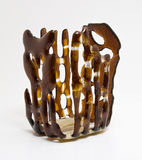 Vase brown, candle holder, candlestick royalty free stock photography