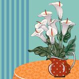 Vase with callas on the table royalty free illustration