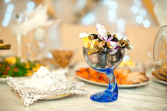 Vase with candies. Royalty Free Stock Photo