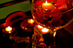 Vase, candlestick with  aromatherapy candles. Decoration of beau Stock Images