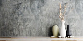 Vase ceramics on wooden and concrete wall Stock Photo