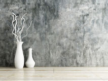 Vase ceramics on wooden and concrete wall Royalty Free Stock Image