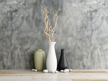 Vase ceramics on wooden and concrete wall Stock Images
