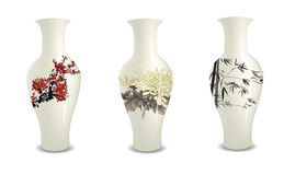 Vase. Chinese vase collection nature painting Stock Photography