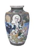 Vase chinois décoré par antiquité d'isolement. Images libres de droits