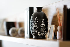 Vase closeup in decorated living room Stock Image