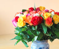 Vase of colourful roses. close up. Royalty Free Stock Image