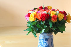 Vase of colourful roses. Royalty Free Stock Photos
