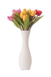 Vase with colourful tulips on white Royalty Free Stock Photos