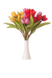 Vase with colourful tulips on white Stock Image
