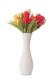Vase with colourful tulips on white Royalty Free Stock Image