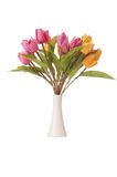 Vase with colourful tulips on white Royalty Free Stock Images