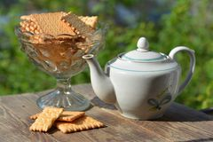 Vase with cookies and  teapot in garden. Vase with cookies and a teapot Royalty Free Stock Image