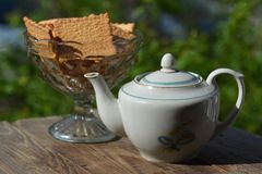 Vase with cookies and  teapot in garden Royalty Free Stock Images