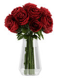 Vase of deep burgundy red roses. Vase of romantic deep burgundy red roses symbolising love for Valentines day, anniversary or a wedding isolated on white Stock Photo