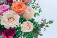 Vase des Rosenblumenstraußes auf weißem Hintergrund Stockbilder