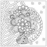 Vase with doodle flowers and mandala Stock Images