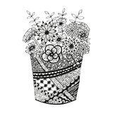 Vase with doodling hand drawn flowers and patterns Stock Photo