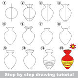 Vase. Drawing tutorial. Stock Photography
