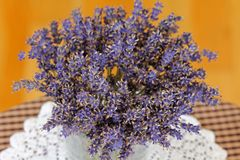 A vase of dried Lavender flowers Royalty Free Stock Photos