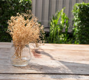 Vase of dry flower. On the table Stock Photo