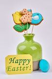 Vase and Easter greeting card. Stock Photography