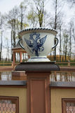 Vase with the emblem of St. Petersburg Royalty Free Stock Photo