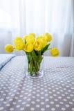 Vase en verre clair contenant les tulipes jaunes coupées et le verre clair Photos stock
