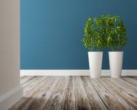 Vase et arbre blancs sur le plancher en bois Photo libre de droits