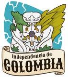 Vase et ruban à fleur iconiques de Llorentes pour le Jour de la Déclaration d'Indépendance colombien, illustration de vecteur Photos stock