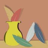 Vase and Feathers. A still life with vase and feathers is featured in a paper-cutout style illustration Royalty Free Stock Photos