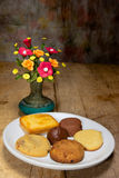 Vase flower with cookie,still life Stock Images