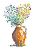 Vase and flower sketch for greeting card Royalty Free Stock Images