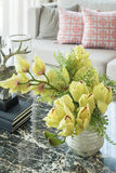 Vase of flower on table in living room Royalty Free Stock Photo