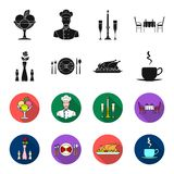 Vase with a flower, table setting, fried chicken with garnish, a cup of coffee.Restaurant set collection icons in black. Flet style vector symbol stock Stock Image
