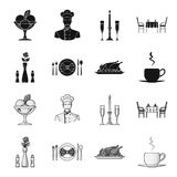 Vase with a flower, table setting, fried chicken with garnish, a cup of coffee.Restaurant set collection icons in black. Monochrome style vector symbol stock Stock Photography