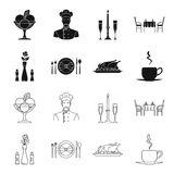 Vase with a flower, table setting, fried chicken with garnish, a cup of coffee.Restaurant set collection icons in black. Outline style vector symbol stock Royalty Free Stock Photography