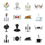 Vase with a flower, table setting, fried chicken with garnish, a cup of coffee.Restaurant set collection icons in black. Cartoon style vector symbol stock Royalty Free Stock Image