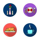 Vase with a flower, table setting, fried chicken with garnish, a cup of coffee.Restaurant set collection icons in flat. Style vector symbol stock illustration Royalty Free Stock Images