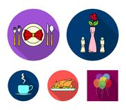 Vase with a flower, table setting, fried chicken with garnish, a cup of coffee.Restaurant set collection icons in flat. Style vector symbol stock illustration Stock Photography