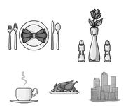 Vase with a flower, table setting, fried chicken with garnish, a cup of coffee.Restaurant set collection icons in. Monochrome style vector symbol stock Royalty Free Stock Photos