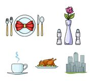 Vase with a flower, table setting, fried chicken with garnish, a cup of coffee.Restaurant set collection icons in. Cartoon style vector symbol stock Royalty Free Stock Image