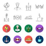 Vase with a flower, table setting, fried chicken with garnish, a cup of coffee.Restaurant set collection icons in. Outline,flet style vector symbol stock Royalty Free Stock Image