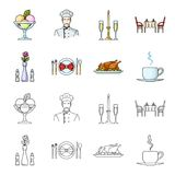 Vase with a flower, table setting, fried chicken with garnish, a cup of coffee.Restaurant set collection icons in. Cartoon,outline style vector symbol stock Royalty Free Stock Image