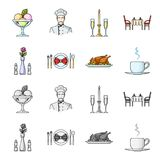 Vase with a flower, table setting, fried chicken with garnish, a cup of coffee.Restaurant set collection icons in. Cartoon,monochrome style vector symbol stock Royalty Free Stock Photo