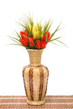Vase with flowers. Vase with red and yellow flowers Royalty Free Stock Images
