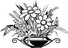 Vase with flowers. Vector illustration of vase with flowers in black and white style Royalty Free Stock Photos