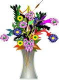 Vase and flowers in 3d. Flower bouquet and vase in 3d on white illustration Stock Photo